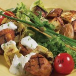 Sausage Skewers with Remoulade Sauce