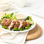 Crispy Coconut Sesame Chicken with Soy Lime Dipping Sauce