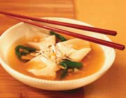 Chicken and Wild Mushroom Broth with Canadian Cheddar Wontons