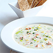 Leek & Sweetcorn Salmon Chowder