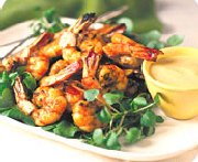 Shrimp barbecue with mustard dip