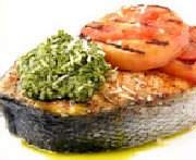 Salmon Steaks with Basil-Parmesan Pesto and Grilled Tomatoes