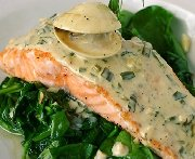 Salmon Steaks with Spinach & Garlic Sauce