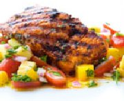 Grilled Salmon Fillets with Paprika, Mango and Lime Juice Salsa