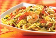 Shrimp Linguine in Chive Sauce