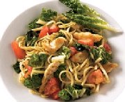 Swiss chard and chicken linguine