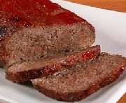 Meatloaf, barbecue sauce and caramelized onions