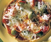 Pizza végétarienne sur pain pita (BBQ)