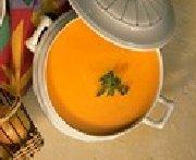Havarti-Topped Golden Carrot Soup