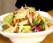 green salad, roasted squash and parmesan
