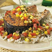 Salmon with Red Pepper and Corn Salsa