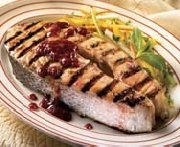 Raspberry grilled salmon