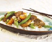 Beef Stir-fry with Miso, Clementines and Sugar Snap Peas